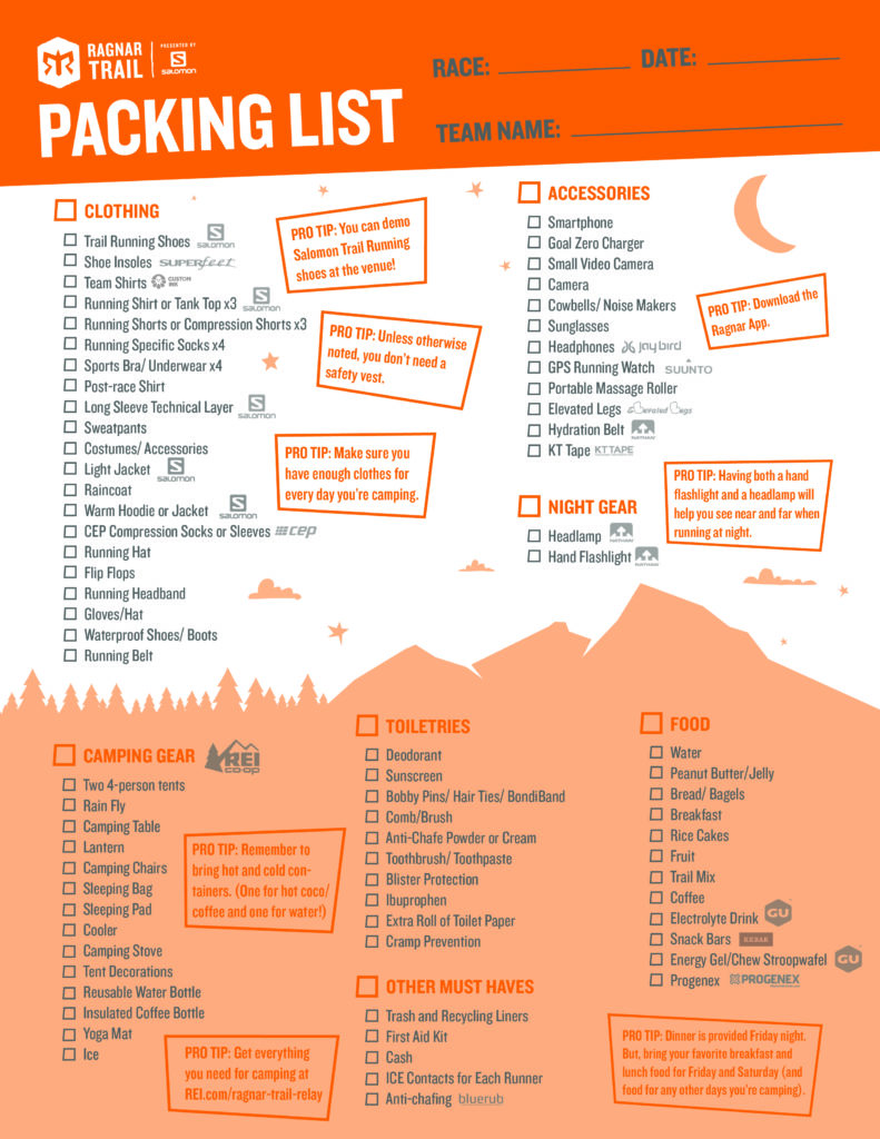 Ragnar Food List